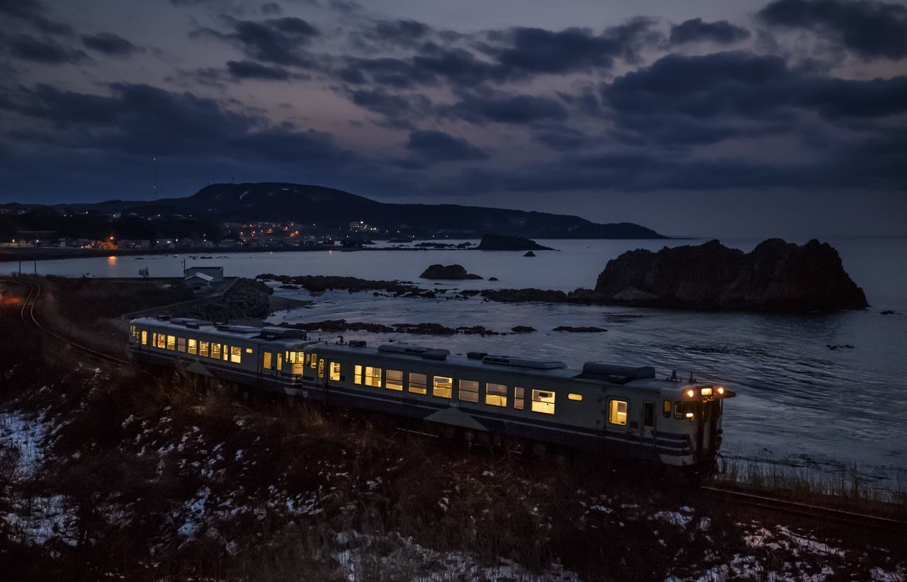 Winter Sea Train Landscape Light Night Japan Blue Night Photography Nightphotography
