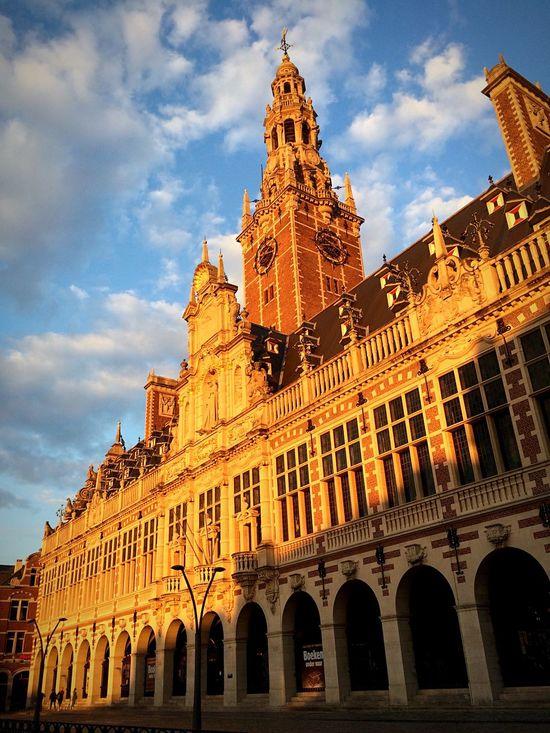 Library Façade in Leuven Belgium KU Leuven University Sunset Reflection Sunset_collection Sunset Silhouettes Flanders Architecture Historical Building