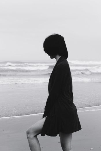 Beach One Person Silhouette Sea Women Young Adult Portrait One Woman Only Sand People