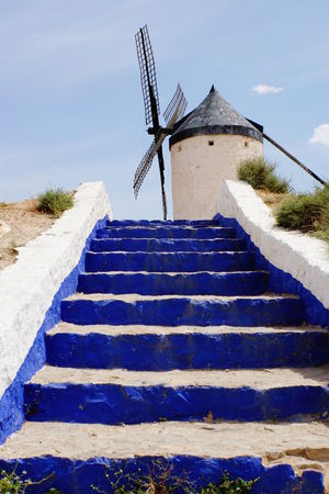 Blue Sky Blue Steps Consuegra Don Quijote No People Sony A6000 SPAIN The Way Up White And Blue Windmill
