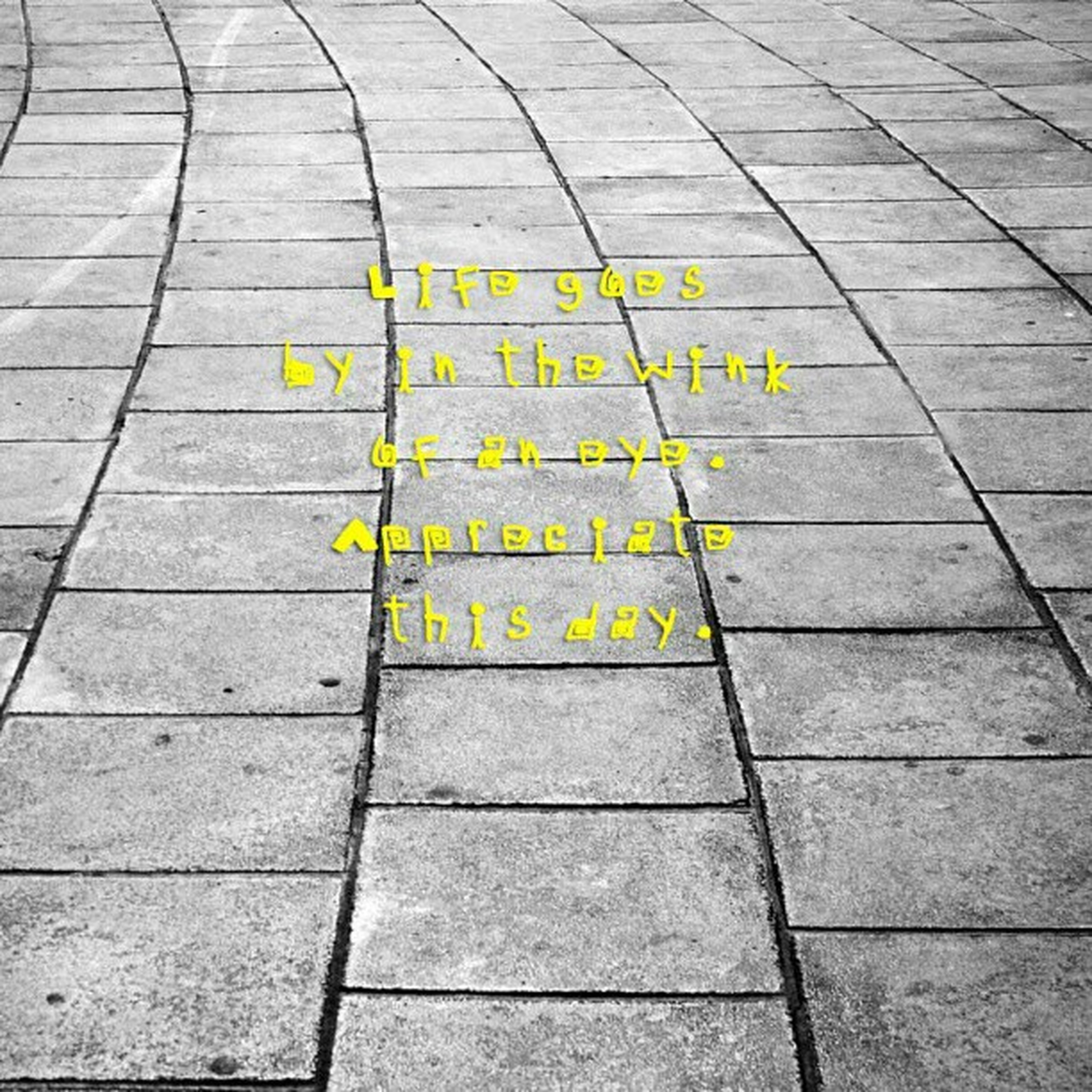 high angle view, yellow, tiled floor, paving stone, leaf, flooring, day, street, sidewalk, cobblestone, footpath, pattern, tile, outdoors, no people, textured, directly above, pavement, floor, text