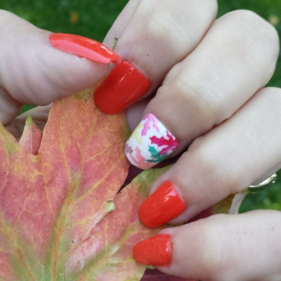 My fall nails 💗 Person Holding Leafs Nail Art Design Personal Perspective Outdoors Fall Nail Art Fall Autumn Colors Autumn Leaves Autumn Nail Art