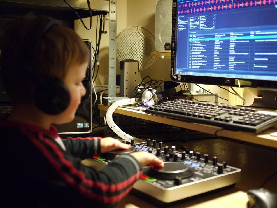 my son learning to mix! Enjoying Life Learning By Doing Father And Son Father & Son Mirrorless Panasonic Lumix Enjoying Life Serato Denon DJ Denon