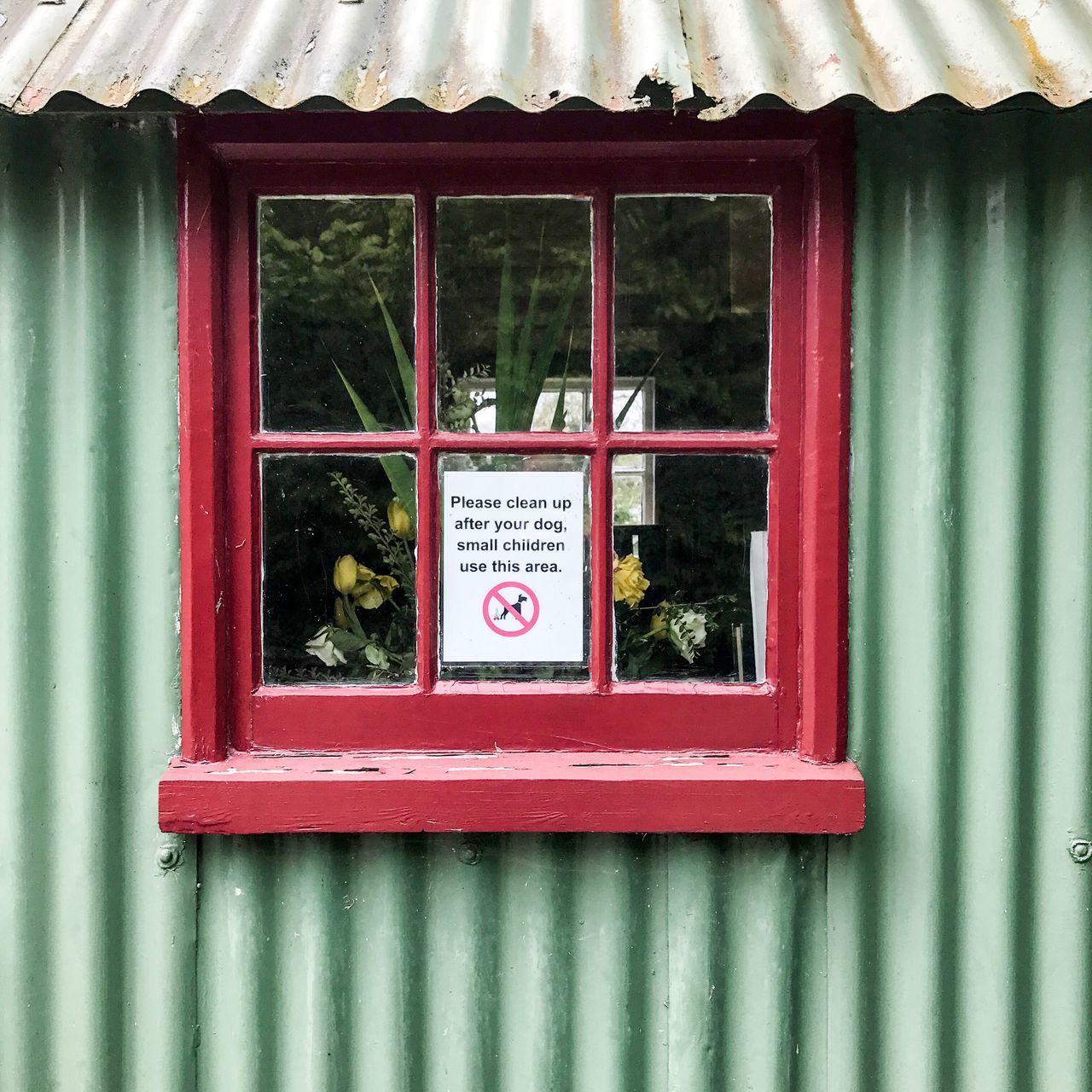 Dog fouling sign in window Sign Notice Dog Fouling Window Green Red Corrugated Iron Information Glass Quarters 4 No People Architecture Building Architectural Close Up Detail