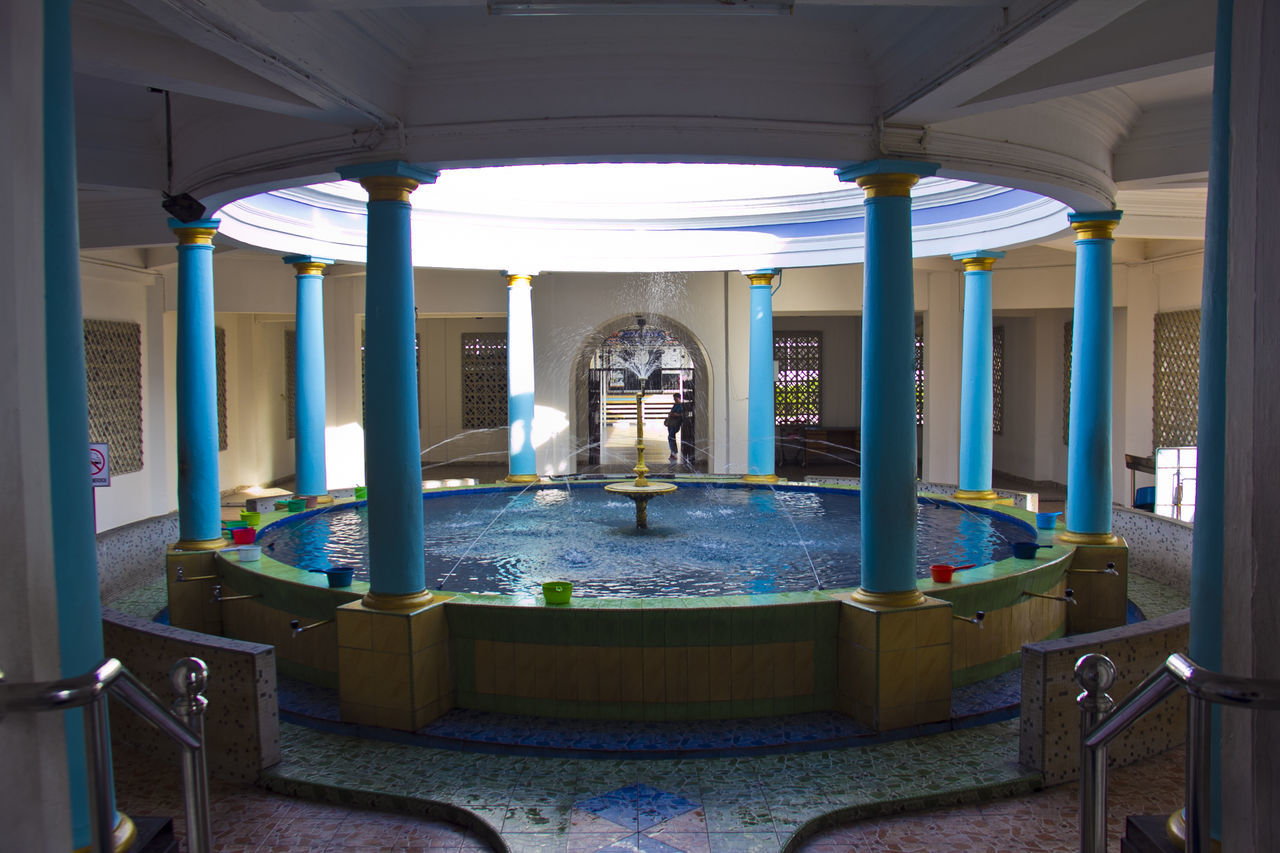 architecture, indoors, architectural column, no people, illuminated, built structure, day, water