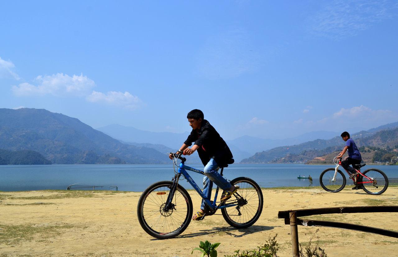 Phewa Lake Pokhara! Bicycle Childhood Cycling Two Boys