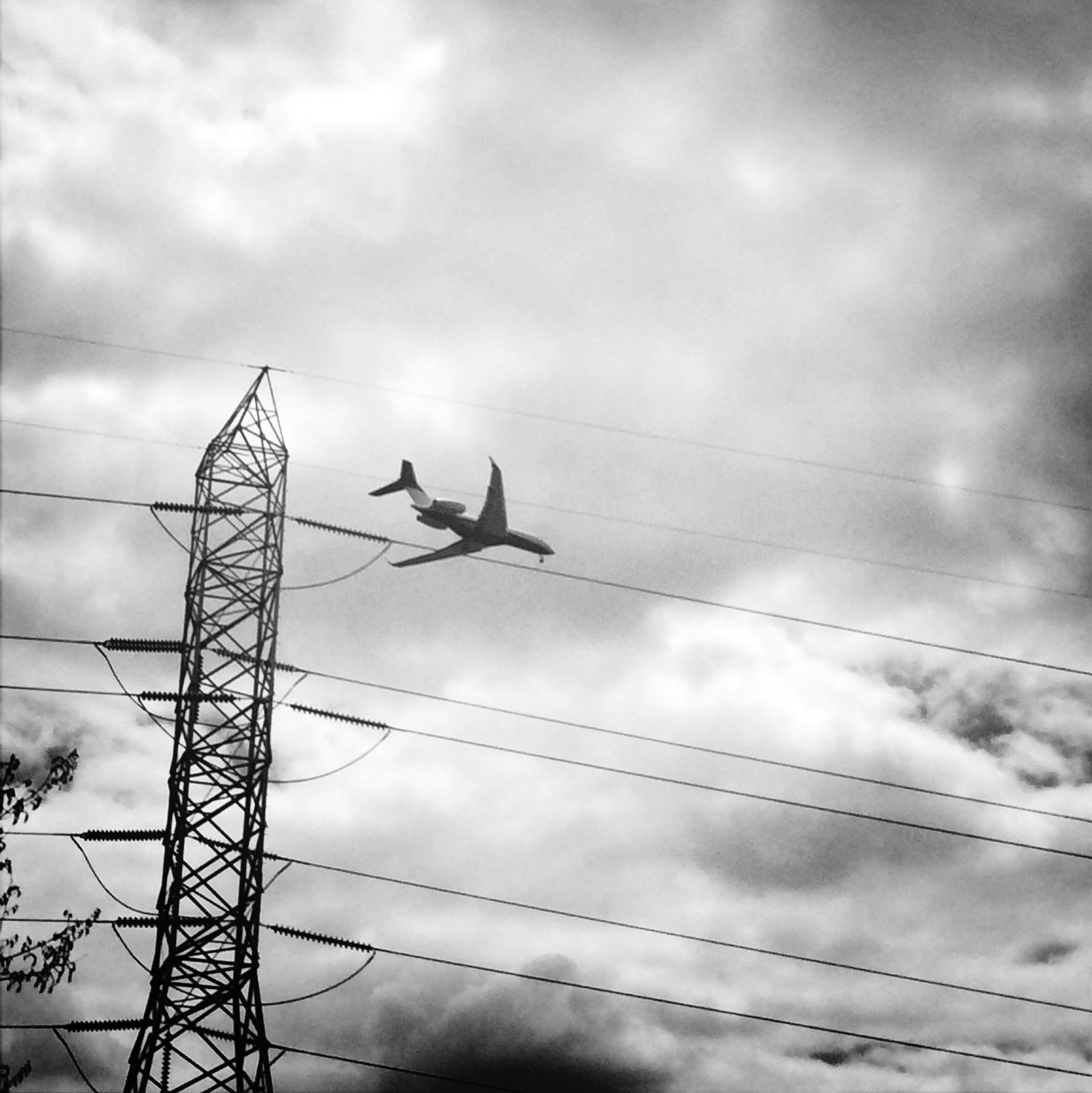 low angle view, animal themes, bird, animals in the wild, sky, wildlife, power line, connection, cable, cloud - sky, perching, electricity, cloudy, electricity pylon, power supply, one animal, silhouette, cloud, flying, outdoors