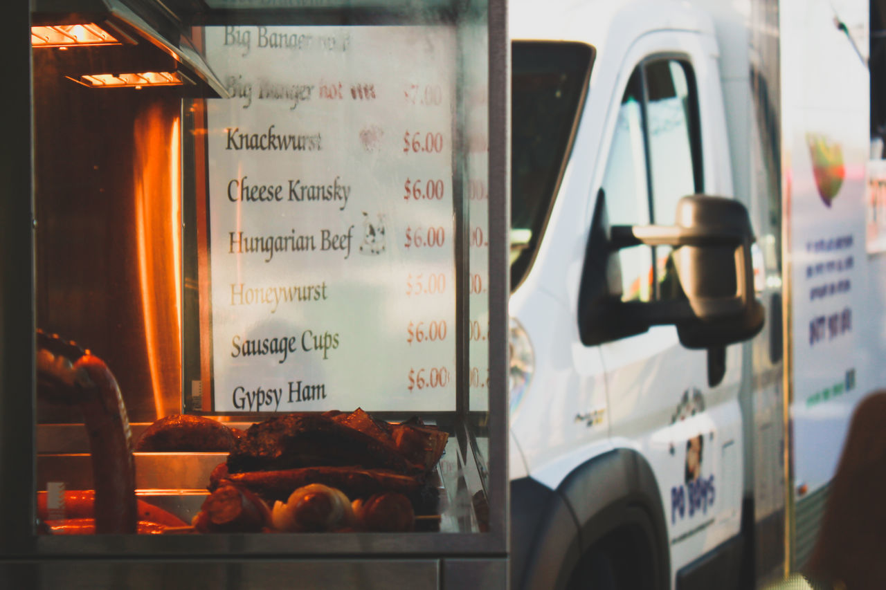 Close-up Day Display Fast Food Food Food Truck Foodtruck Freshness No People Outdoors Pork Retail  Retail  Small Business Street Food Street Food Worldwide Text Transportation Truck