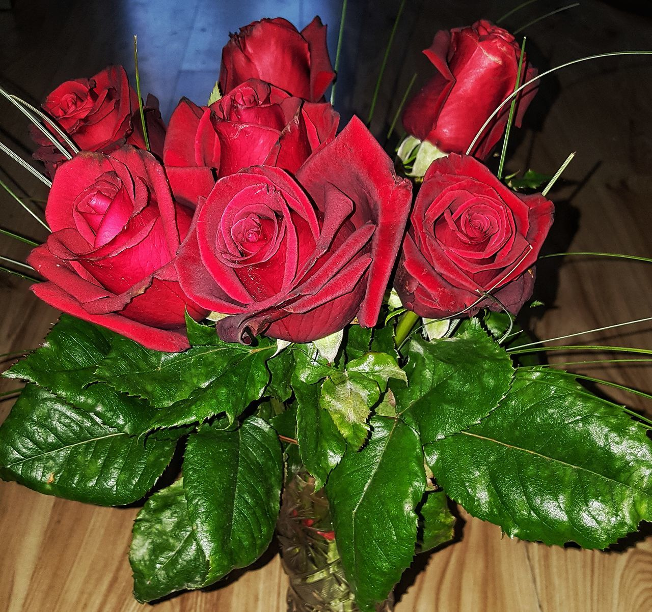 flower, red, leaf, rose - flower, freshness, no people, close-up, high angle view, petal, indoors, green color, flower head, fragility, nature, beauty in nature, day