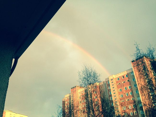 Rainbow Colors Beautiful Sky Clouds Houses Day Everyday Lives Balkon Trees