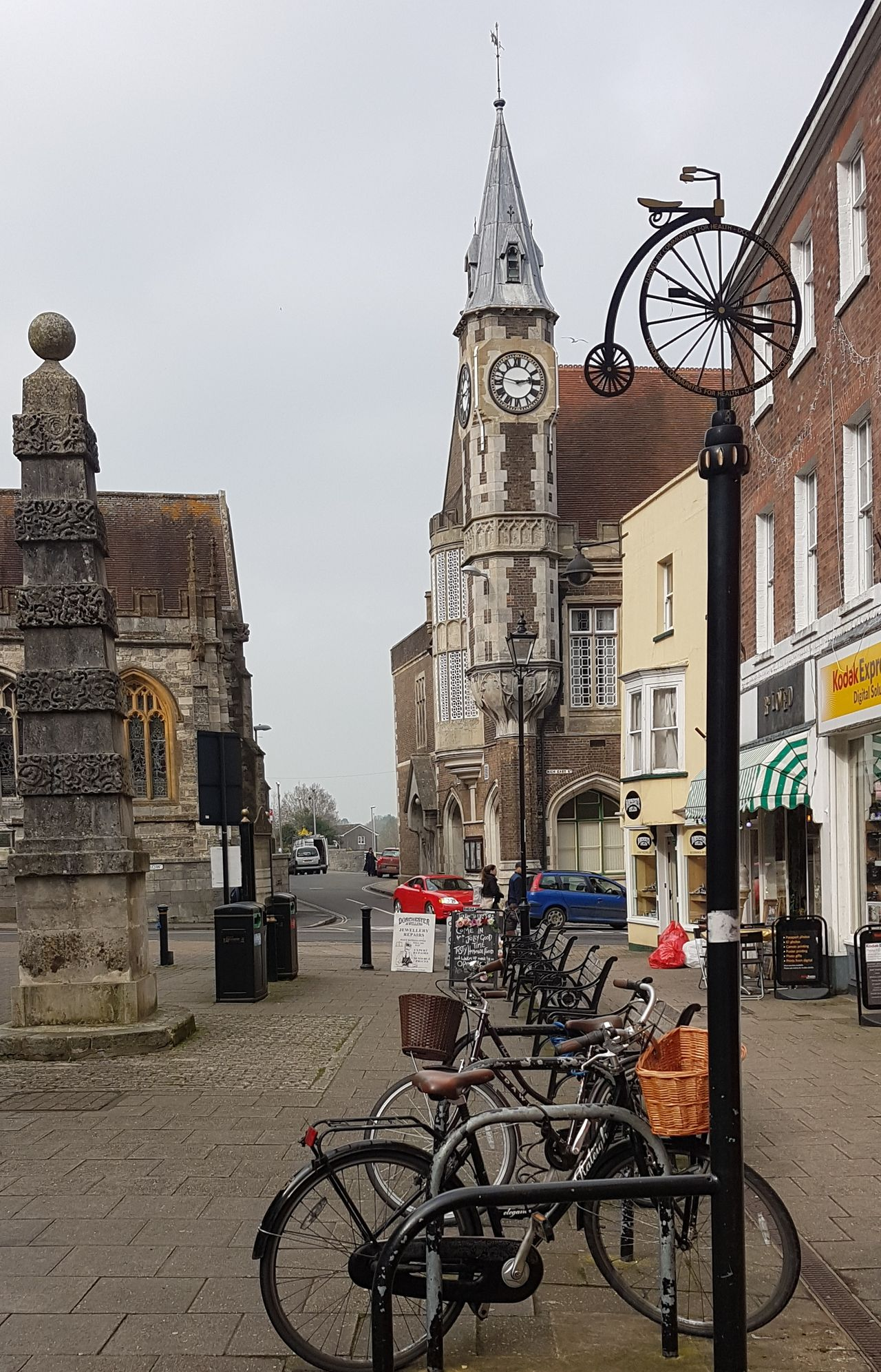 Bicycle History Architecture Clock Clock Tower Building Exterior City Dorchester, Dorset Cornhill South Street Town Hall Corn Exchange Casterbridge Thomas Hardy St Peter's Church, Dorchester Obelisk 1784 Georgian Architecture 18th Century Bike Power Dorset, England County Town Samsung Galaxy S7