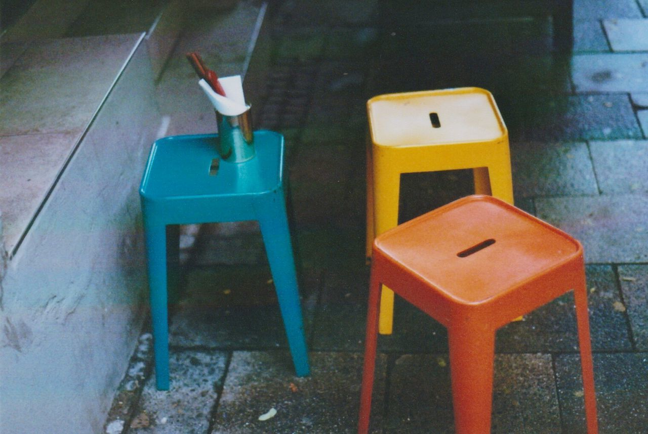 Chairs Munich, Germany Analoguephotography No People Coloured 35mm Film Photography Magnumphotos Color Photography Kodakfilm Streets