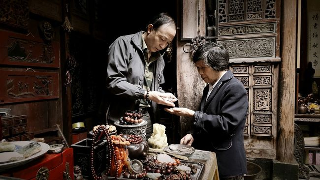 Ancient Village China Culture Xi Di Village Folk Senior Citizen  Bargin Capture Cellphone