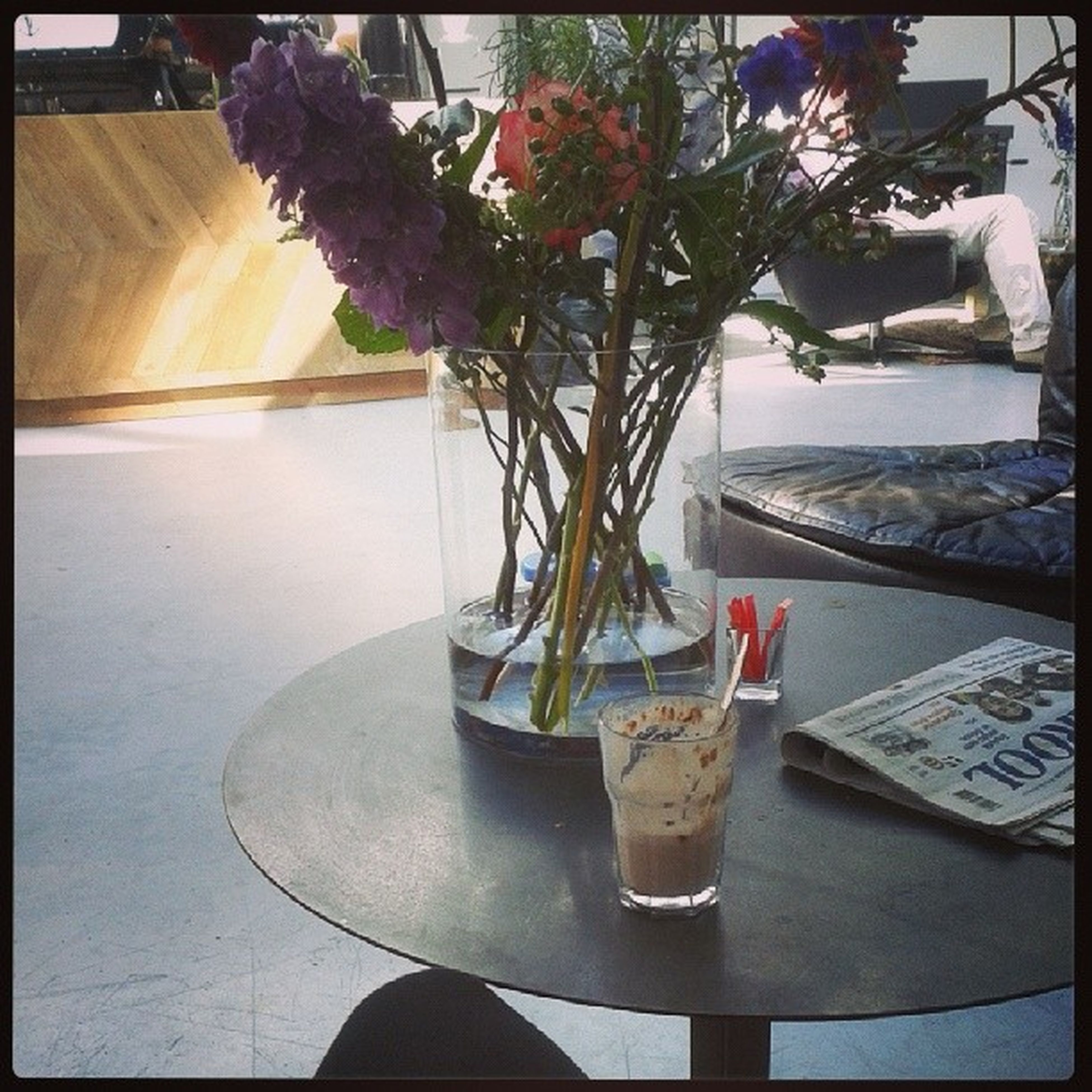 transfer print, table, flower, potted plant, auto post production filter, indoors, freshness, vase, growth, plant, flower pot, chair, sunlight, fragility, restaurant, nature, day, no people, close-up, decoration