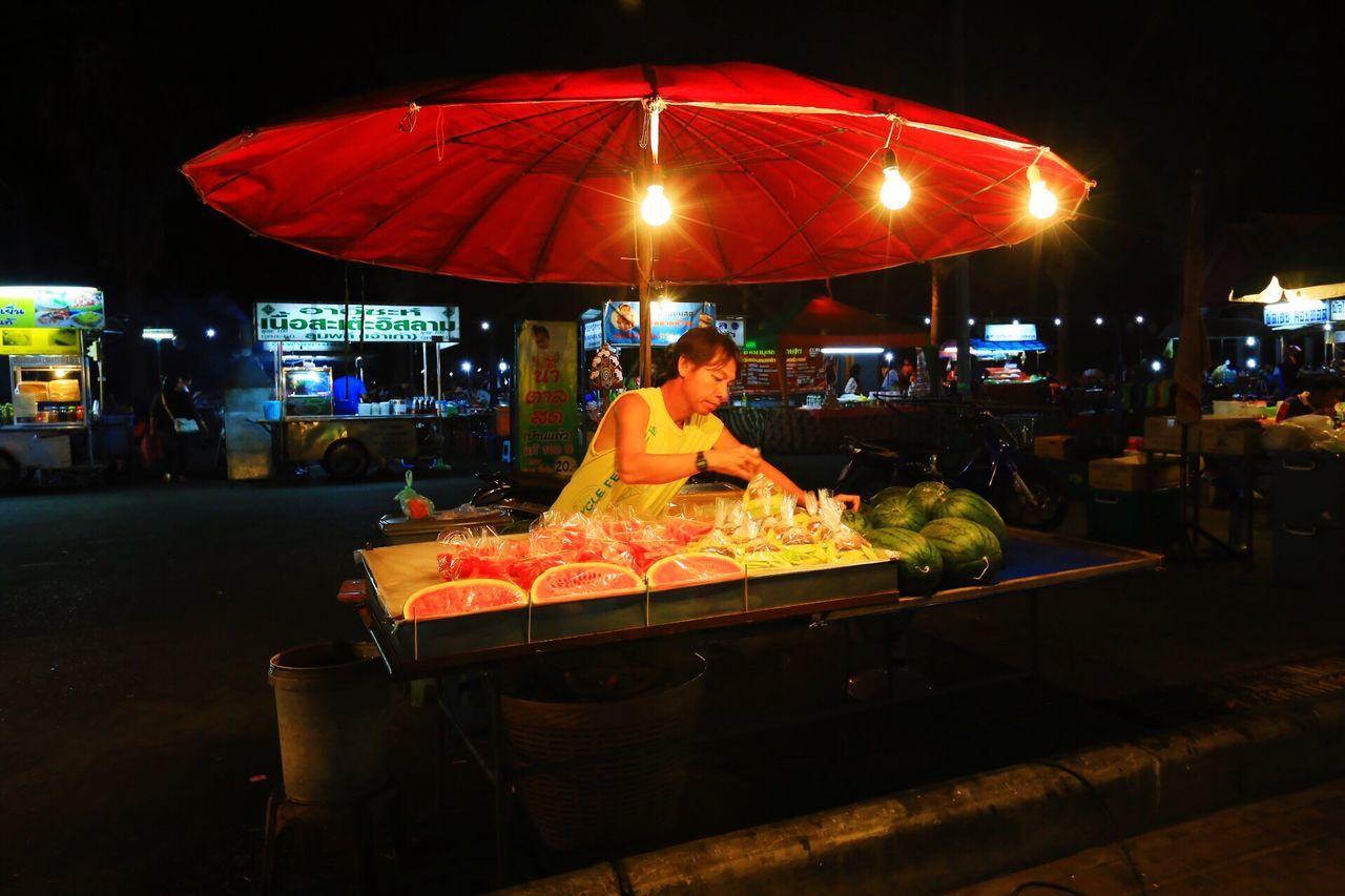 Water Melon Merchant Street Market In Thailand Earn A Living Flying High