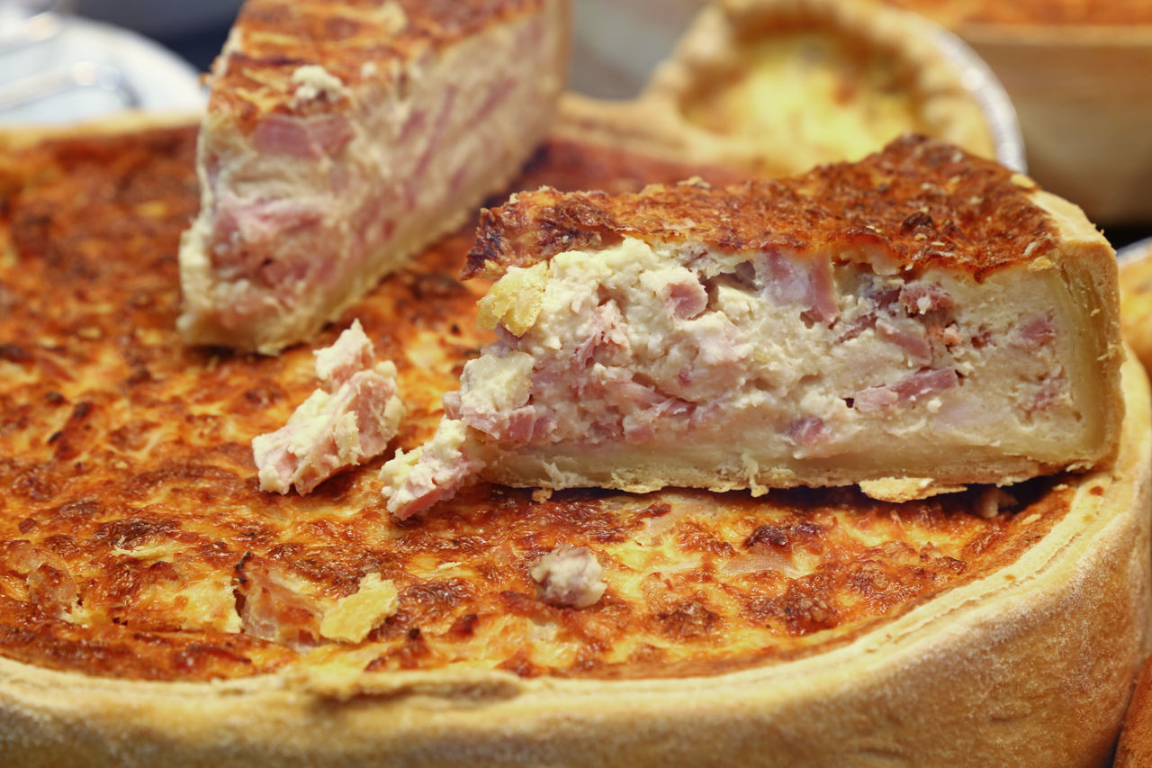 Fresh french Quiche Lorraine, keesh with meat, bacon and cheese Bake Bakery Bakery Cafe Becon Cheese Close-up Cuisine Fast Food Food Food And Drink French French Cuisine Freshness Meal Meat No People Pie Piece Quiche Lorraine Ready-to-eat Round Street Food Tasty Tasty Dishes Traditional