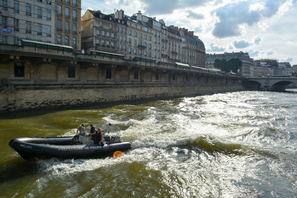 Architecture Boat Building Cloud Cloud - Sky Laseine Nature Paris River Seine River Sky Travel Destinations Water Waterfront Security Police Patrol Police Boat