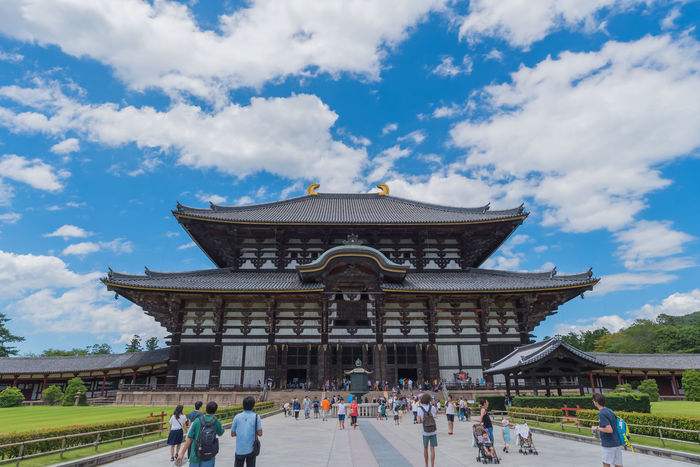 Adult Ancient Civilization Architecture Building Exterior Built Structure Cloud - Sky Day Heritage History Japanese Culture Japanese Style Landscapes Large Group Of People Leisure Activity Lifestyles Low Angle View Outdoors People Photography Sky Temple Tourism Travel Travel Destinations Wooden Building
