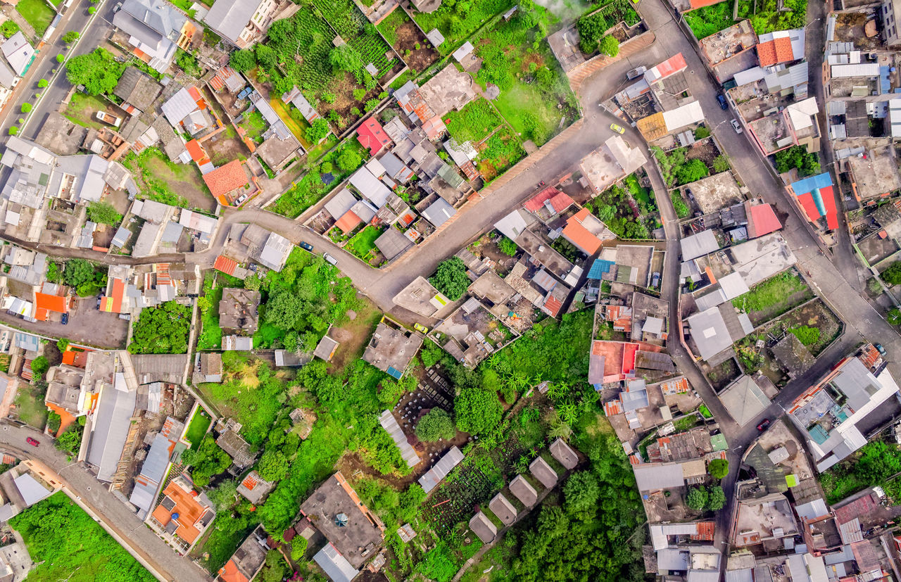 Looking Down At Banos De Agua Santa, Latin American Touristic City, Tungurahua Province, South America Aerial Aerial Photography Aerial Shot Aerial View Agriculture Altitude City City Crowded Day Drone  Dronephotography Droneshot Fly Green Color House Nature Neighborhood No People Outdoors Roof Rural Scene Tranquil Scene Tree Village