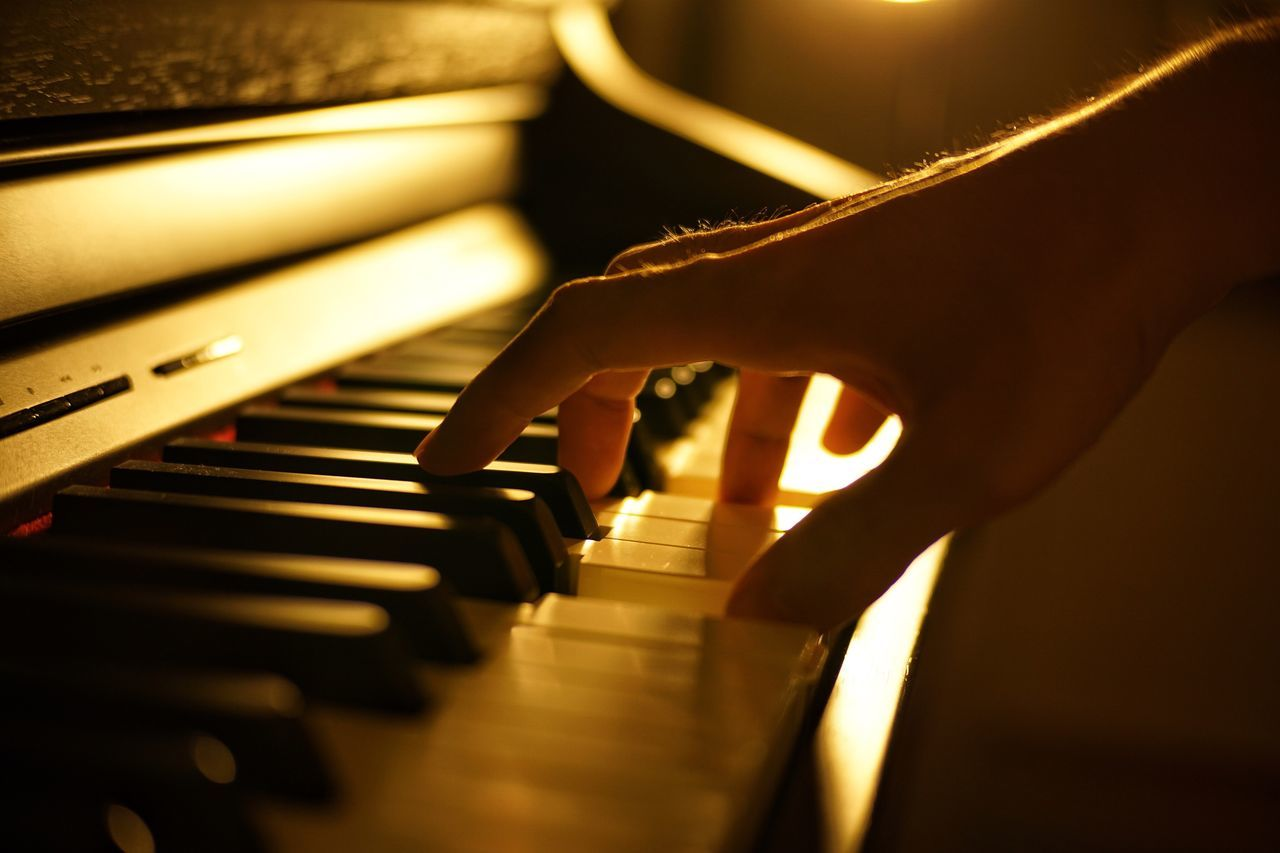 music, musical instrument, piano, piano key, human hand, arts culture and entertainment, playing, human body part, musician, human finger, selective focus, pianist, indoors, skill, close-up, real people, one person, performance, recording studio, jazz music, classical music, people