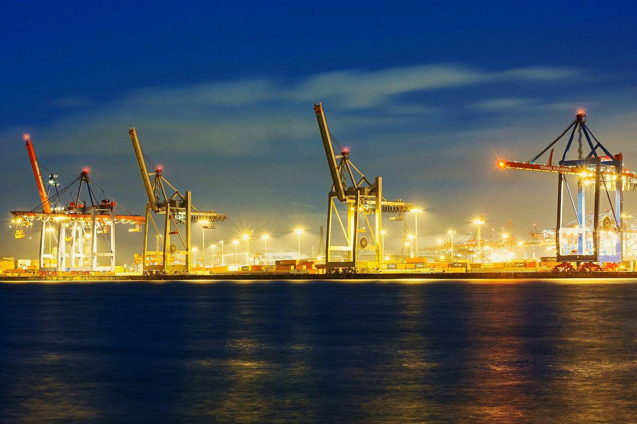 Beautiful stock photos of hamburg, Commercial Dock, Crane - Construction Machinery, Dusk, Freight Transportation
