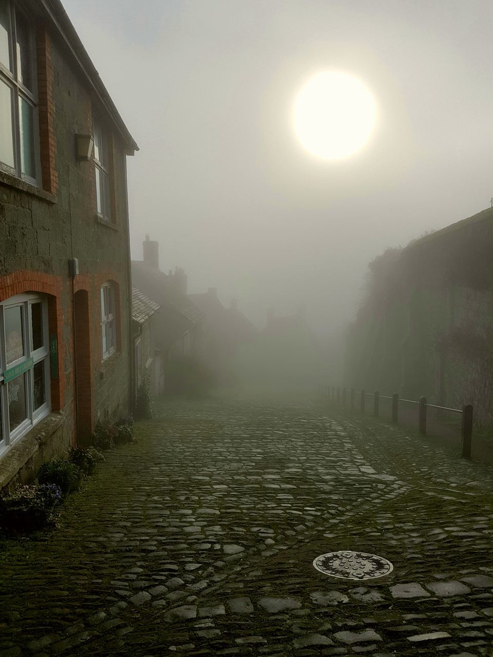 architecture, building exterior, built structure, outdoors, no people, sun, the way forward, fog, day, tree, nature, water, sky