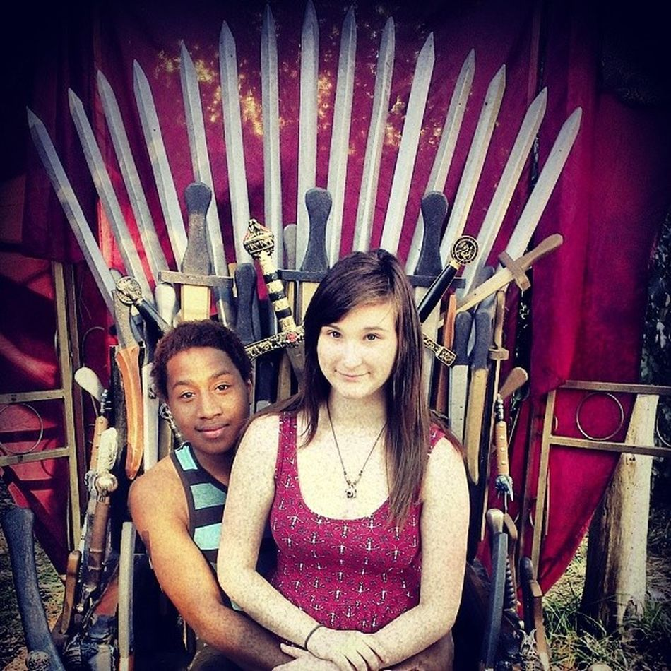 Catherine && Ellis. ( you know I looked way more badass when I was sitting in it ) Kingandqueen  Throneofswords Renaissancefestival