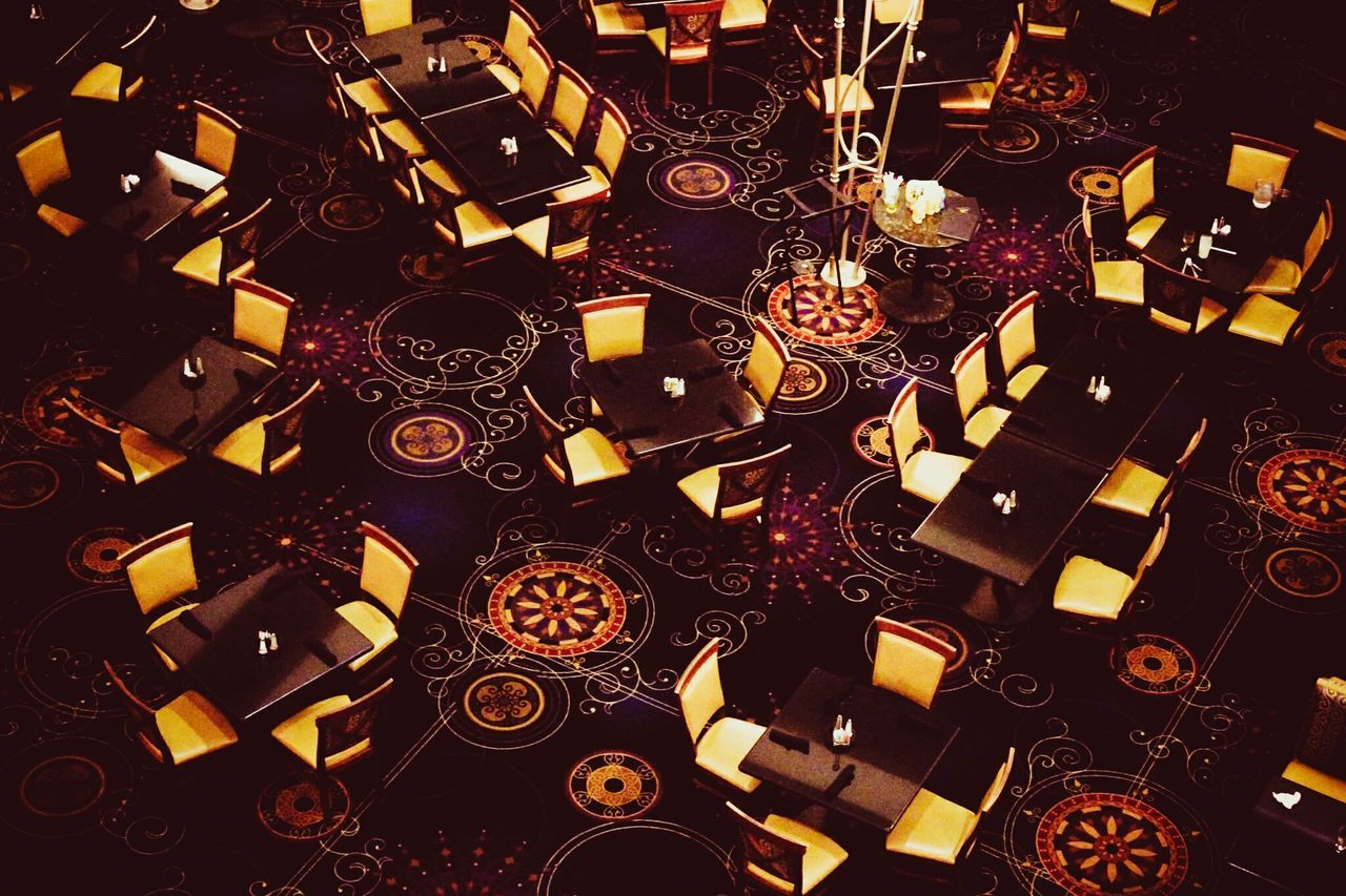 Backgrounds Large Group Of Objects Indoors  No People Pattern Gold Dining Diningroom Hotel Motel Jefferson City, MO Capitol Plaza Missouriphotography Missouri Purple Golden Seating Furniture Textures And Surfaces Surfaces And Textures Purple Color Gold Colored High Class Empty