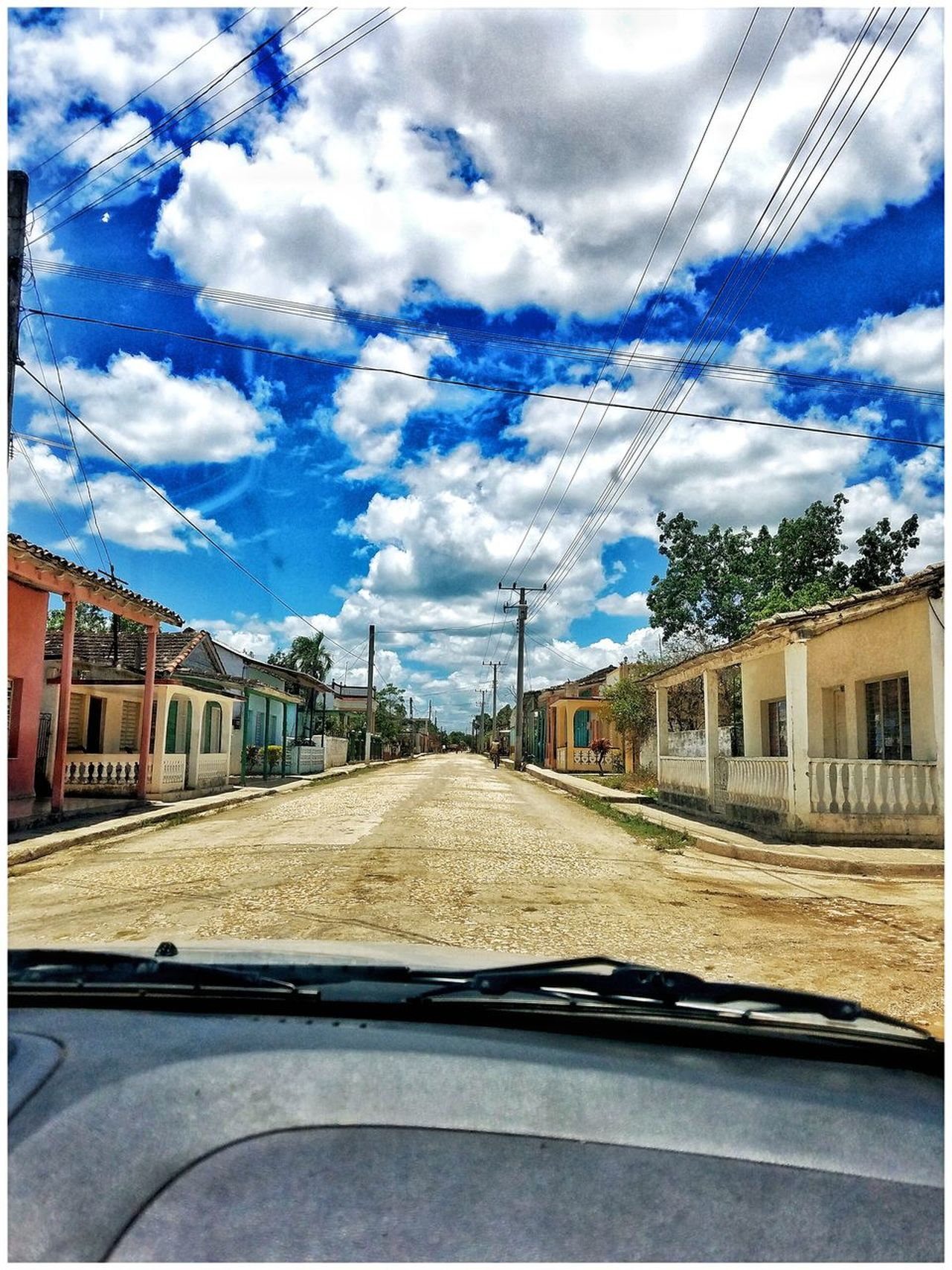 Outdoors Car Transportation Vehicle Interior Land Vehicle Car Interior Mode Of Transport Sky Cloud - Sky Windshield Day Car Point Of View The Way Forward Travel Window Architecture No People Built Structure Nature Cuba Cuban Town Cuban People San Diego Del Valle Villa Clara