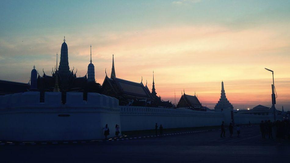 Sunset Sky Sun Outdoors Architecture Street Temple Pagoda Temple