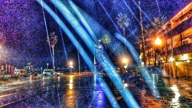 Ocean beach rain Christmas time Enjoying Life Raining Lights Wipers Night Lights Night Photography Weather Night Shot