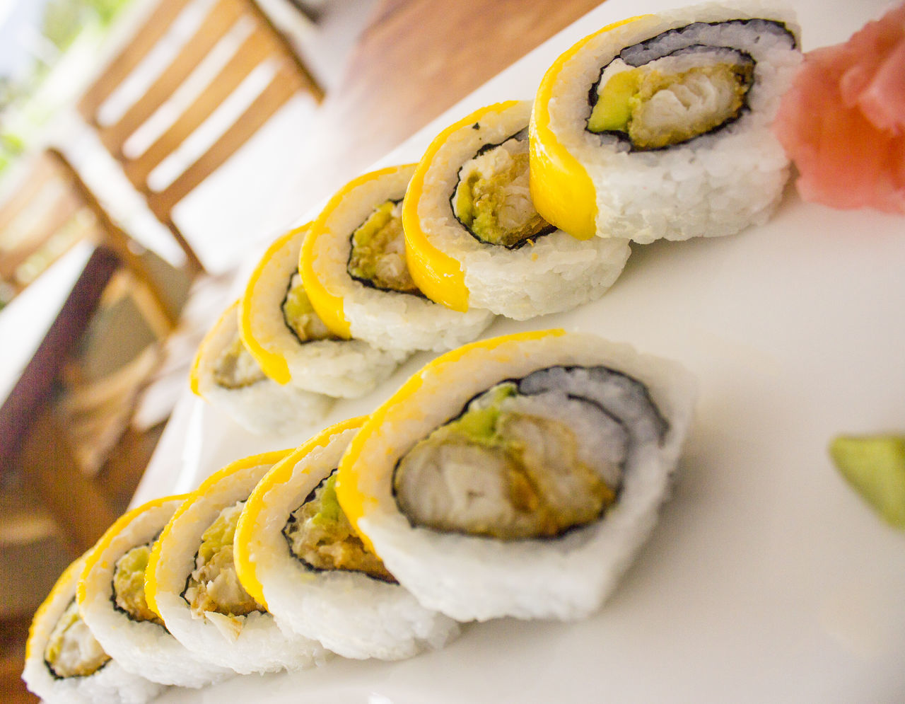 Close-up Day Egg Yolk Fast Food Food Food And Drink Freshness Healthy Eating Human Body Part Human Hand Indoors  One Person People Preparation  Prepared Potato Ready-to-eat Sushi Sushi Time Sushi! Sushilover Sushitime Table Yellow