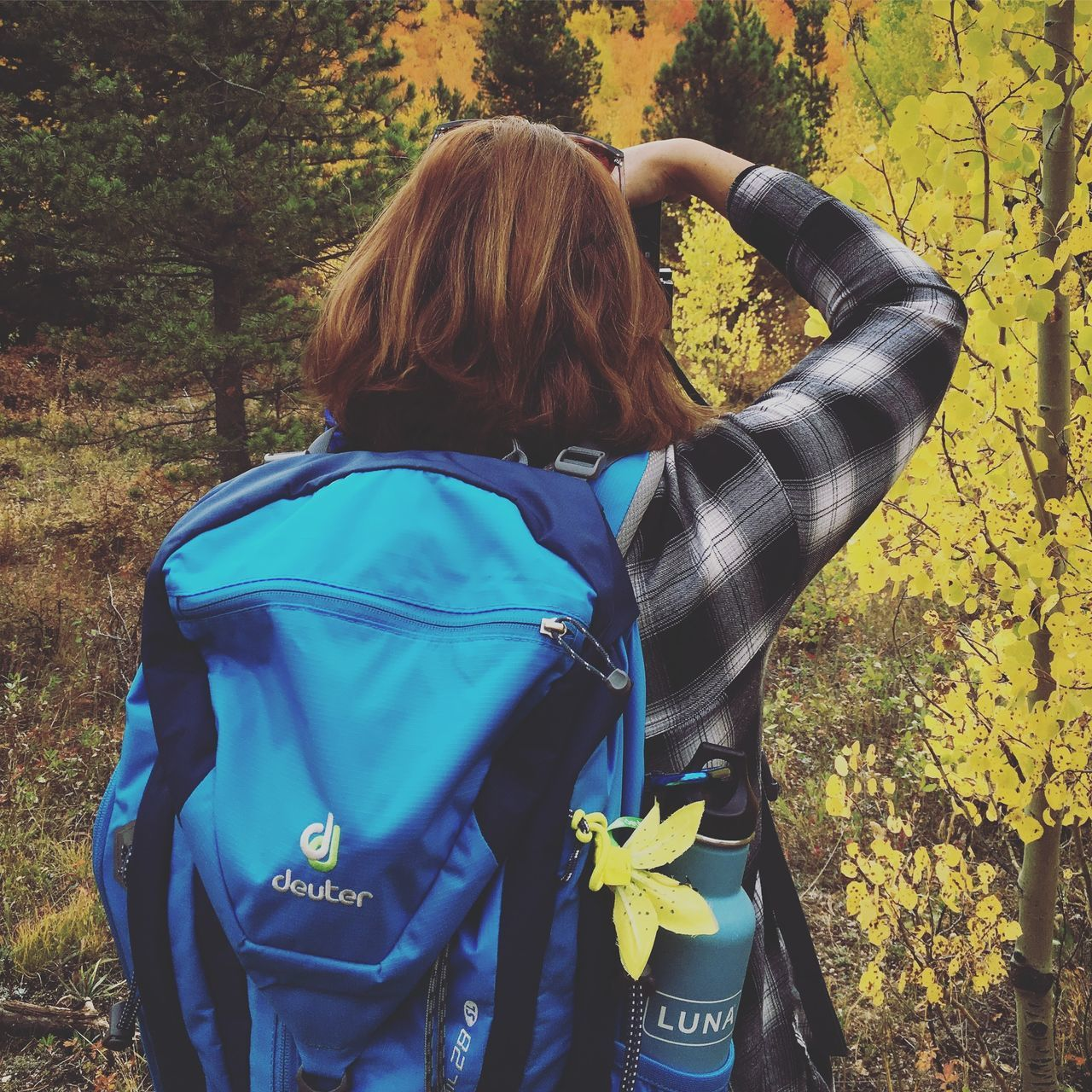 ©Amy Boyle Photography Backpack Casual Clothing Day Forest Hiking Leisure Activity Lifestyles Nature One Person Outdoors People Photographer Real People Rear View Standing Tree Women Young Adult Young Women