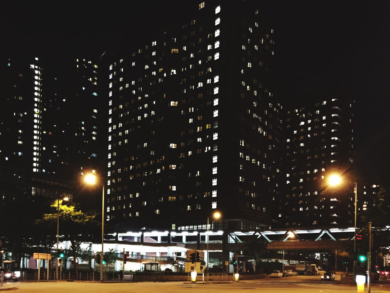 Hong Kong Hung Hom Polyu Dorm Night Lights Street Building