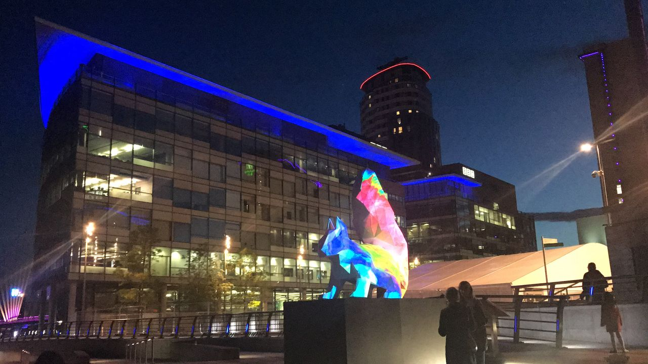 Night Illuminated Architecture Real People Built Structure Building Exterior Human Representation Art And Craft Statue Arts Culture And Entertainment Large Group Of People Sculpture Women Men Lifestyles Leisure Activity Outdoors Performance City Performing Arts Event BBC Mediacityuk Endangered Species Unnatural Borders Art Installation
