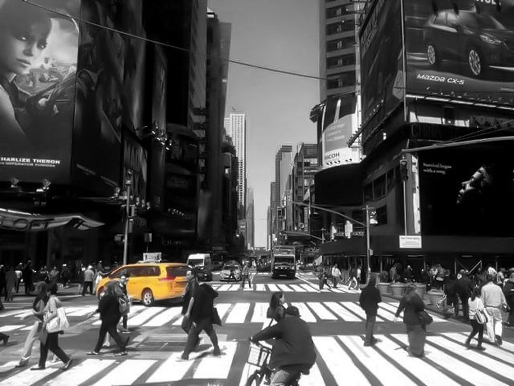 Nyc crosswalk and busy intersection with the classic yellow cab . City Life City City Street Street Large Group Of People Crowd People Building Exterior Outdoors Full Length Adult Architecture Day Cityscape Adults Only Contrast Blackandwhite Photography Howard Roberts EyeEm Best Shots EyeEm Gallery NYC Streetphoto_bw Streetphoto_color Movement Work In Progress
