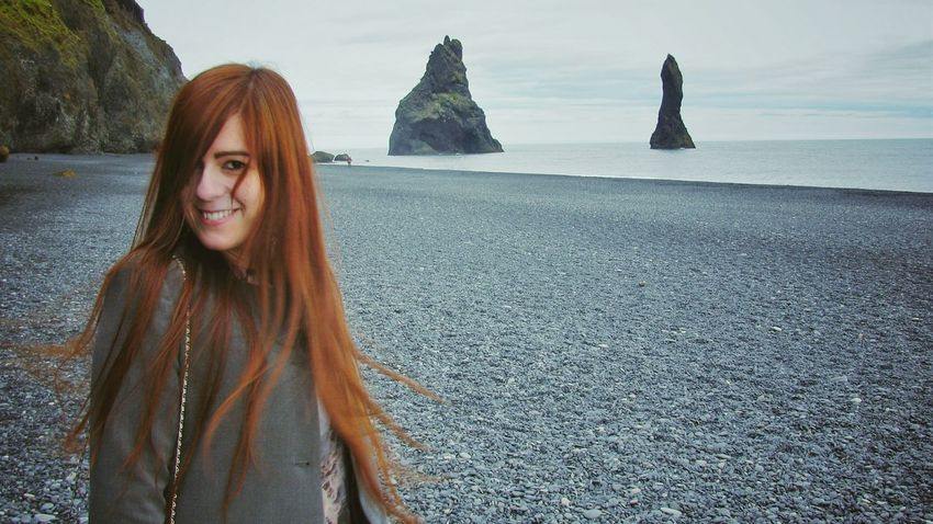 Let Your Hair Down Wonderful memories from Iceland Iceland Iceland_collection Reynisfjara Black Sand Beach Seaside Sea View Sea And Sky Self Portrait Hair Redhair Magic Moments Naturelovers People And Places Eye4photography