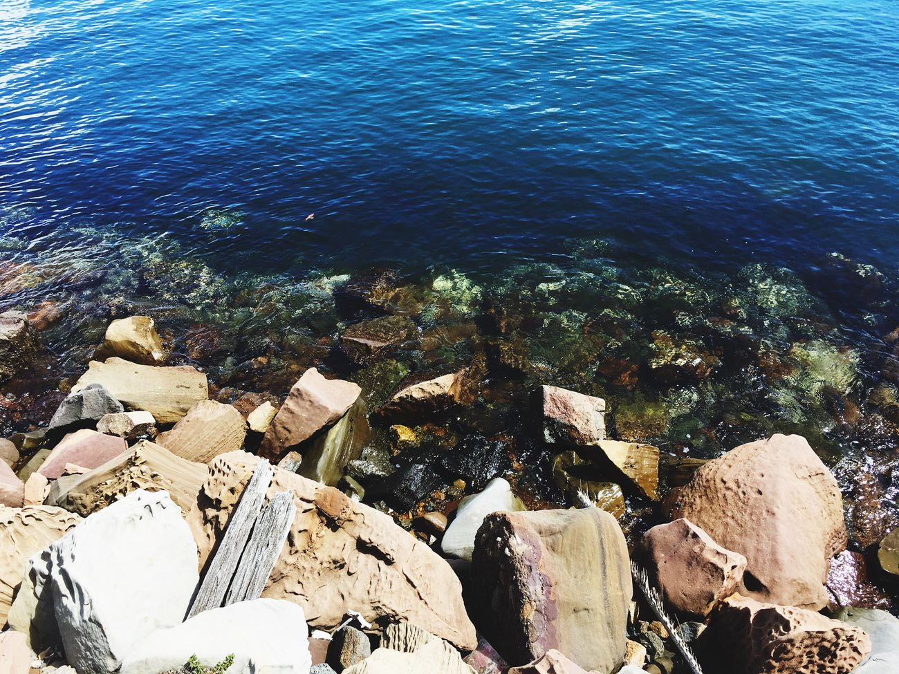 Water Sea High Angle View Nature Beauty In Nature Sunlight Day No People Rock - Object Tranquility Outdoors Tranquil Scene Pebble Beach