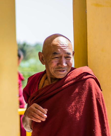 Monk  One Senior Man Only Portrait Long Goodbye Senior Adult Monks In Temple Cheerful Real People Standing Adult One Man Only Gyuto Monastery The Portraitist - 2017 EyeEm Awards