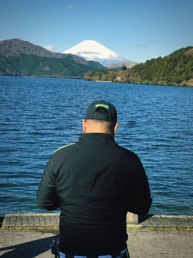 Rear View One Person Water Leisure Activity Lifestyles Day Nature Mountain Outdoors Real People Beauty In Nature Men One Man Only Only Men Sky People Adult Travel Japan