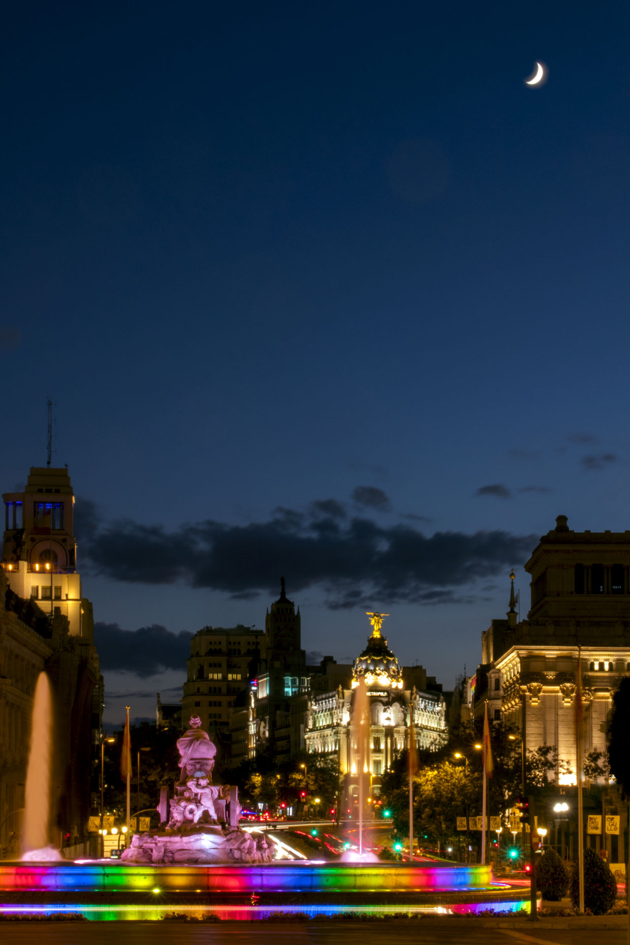 Architecture Building Exterior Built Structure Cibeles City Colorful Fountain Gay Pride Illuminated Long Exposure Madrid Metropolis Moon Night Night Lights Night Photography Outdoors Pride Pride Parade