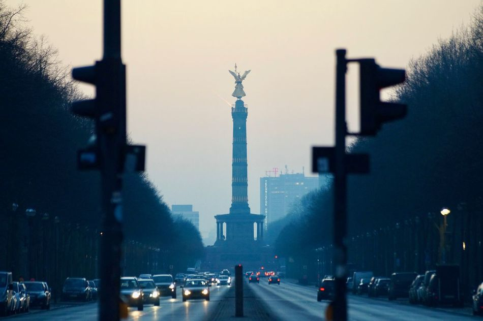 Architectural Column Architecture Berlin City City Gate Day Large Group Of People Lowlight Outdoors People Sculpture Siegessäule  Sky Skyscraper Statue Streetphotography Travel Travel Destinations Urban Victorycolumn