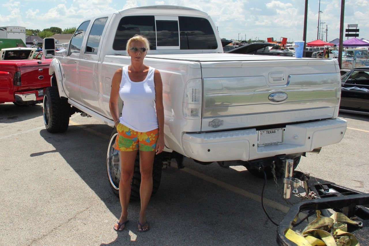 Maybe I need a bigger truck? Car Cars CarShow Portrait Portrait Of A Woman Truck Trucks Summer Casual Clothing Casual Look The Drive