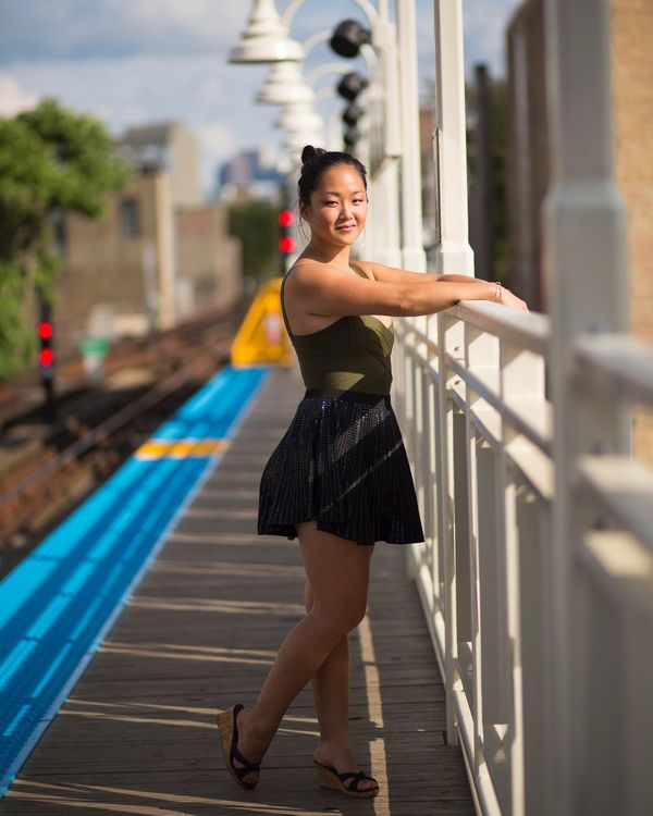 People And Places posing at the Damen blue line station in chicago Illinois Chicago Model Models Modeling Pose Portrait Portrait Photography Portrait Of A Woman People Chicago Transit Authority Damen Avenue Blue Line CTA Architecture City City Landscape City Life