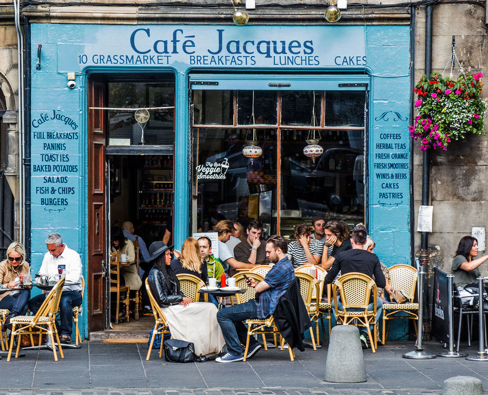 Cafe Jacques Architecture Blue Paint Cafe Cafe Life City City Life City Life Coffee Time Couple Hanging Basket Leisure Activity Lifestyles Outdoor Seating Outdoors