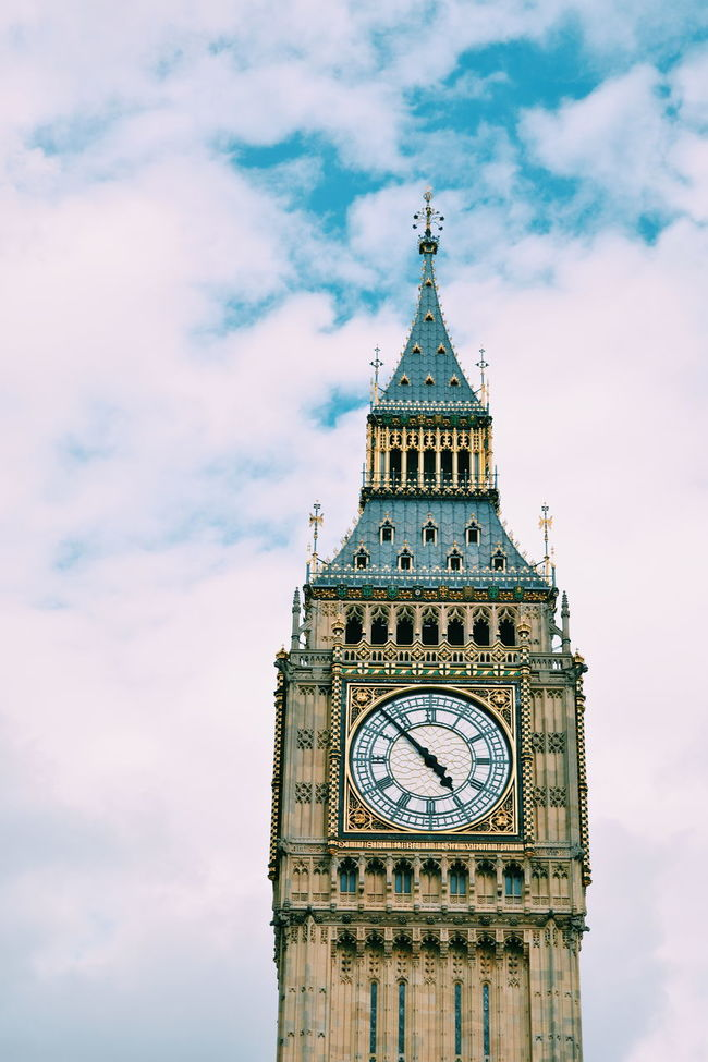 Big Ben Architectural Feature Architecture Big Ben Built Structure Capital Cities  Clock Clock Tower Cloud Cloud - Sky Cloudy Culture Day High Section Low Angle View No People Outdoors Sky Tall Tall - High Time Tourism Tower Travel Destinations