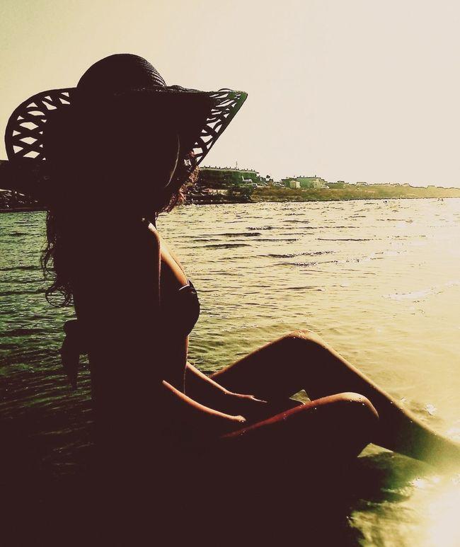 Summer Girl Enjoying Life Sun Summer Views Summertime Holiday Summer ☀ Big Hat Summer 2013 Sea Çeşme Aegean Sea