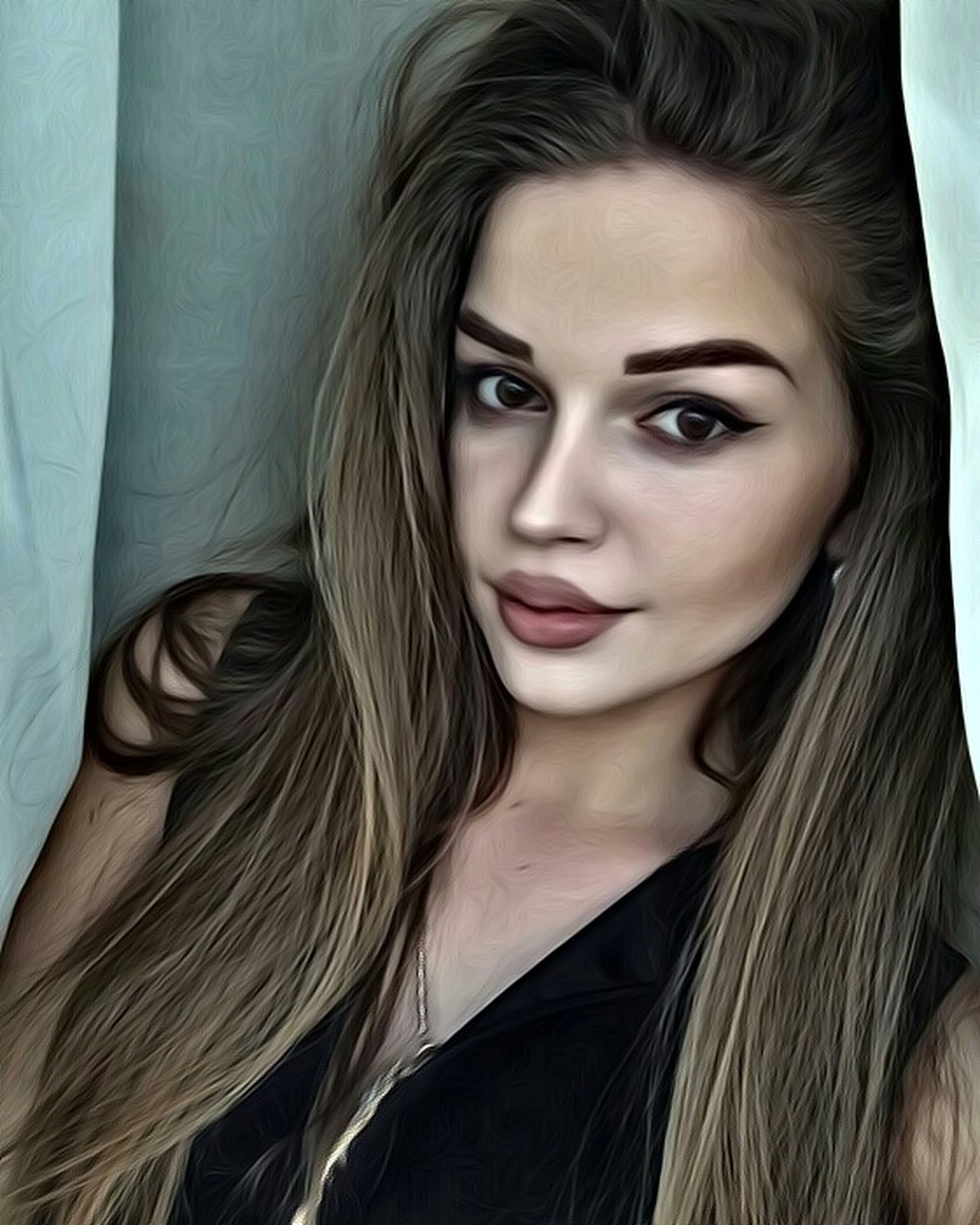 looking at camera, portrait, headshot, long hair, indoors, young adult, young women, front view, lifestyles, beauty, leisure activity, person, smiling, blond hair, casual clothing, beautiful people