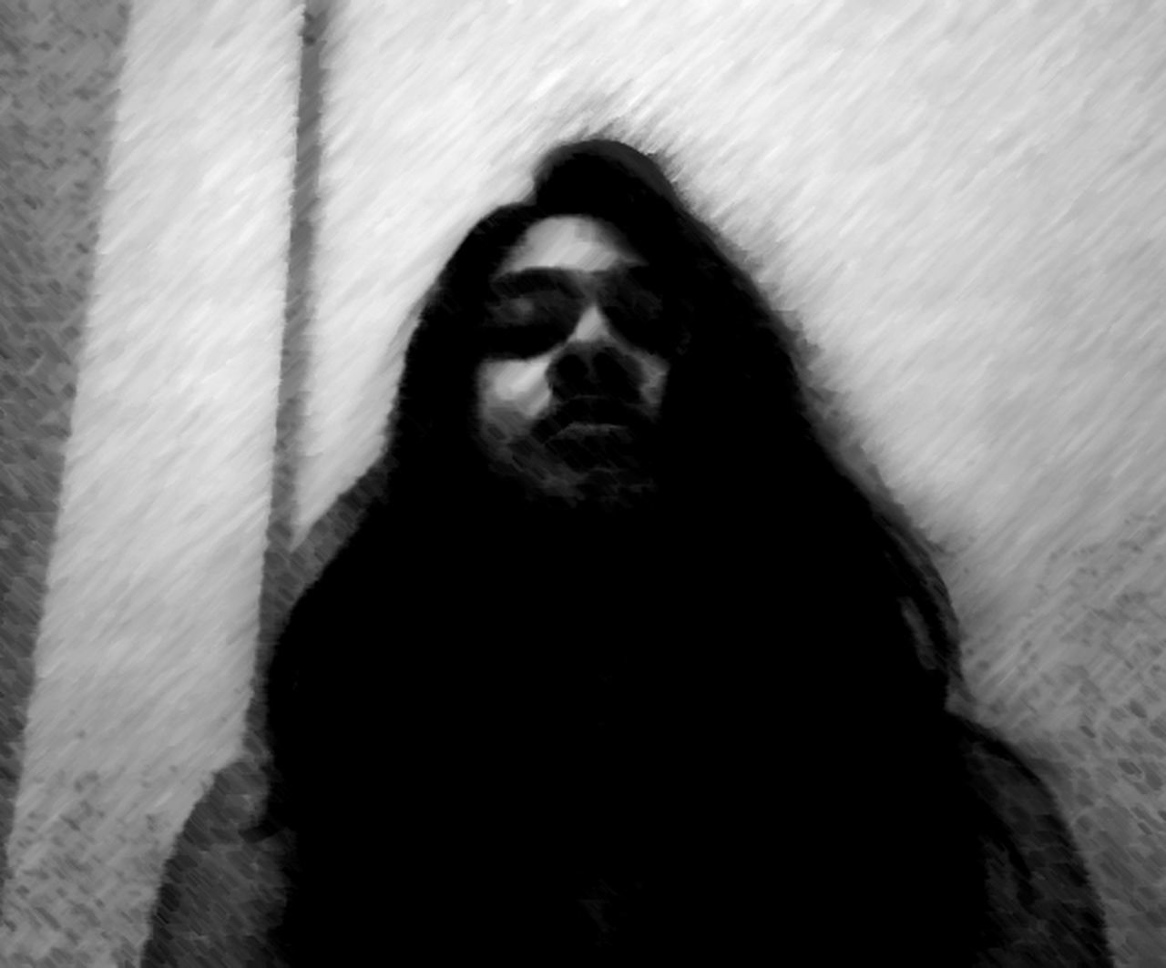 Thats Me! Black And White Eerie Dark Photography Artist Long Hair, Don't Care. High Life A State Of Trance