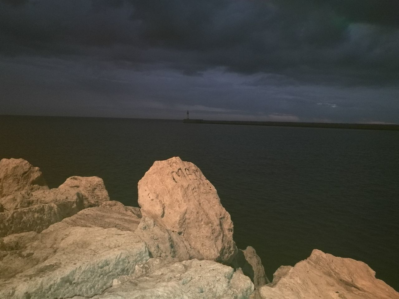 Mar Rocas Y Mar Noche Puerto Almería HuaweiP9 Sin Filtros